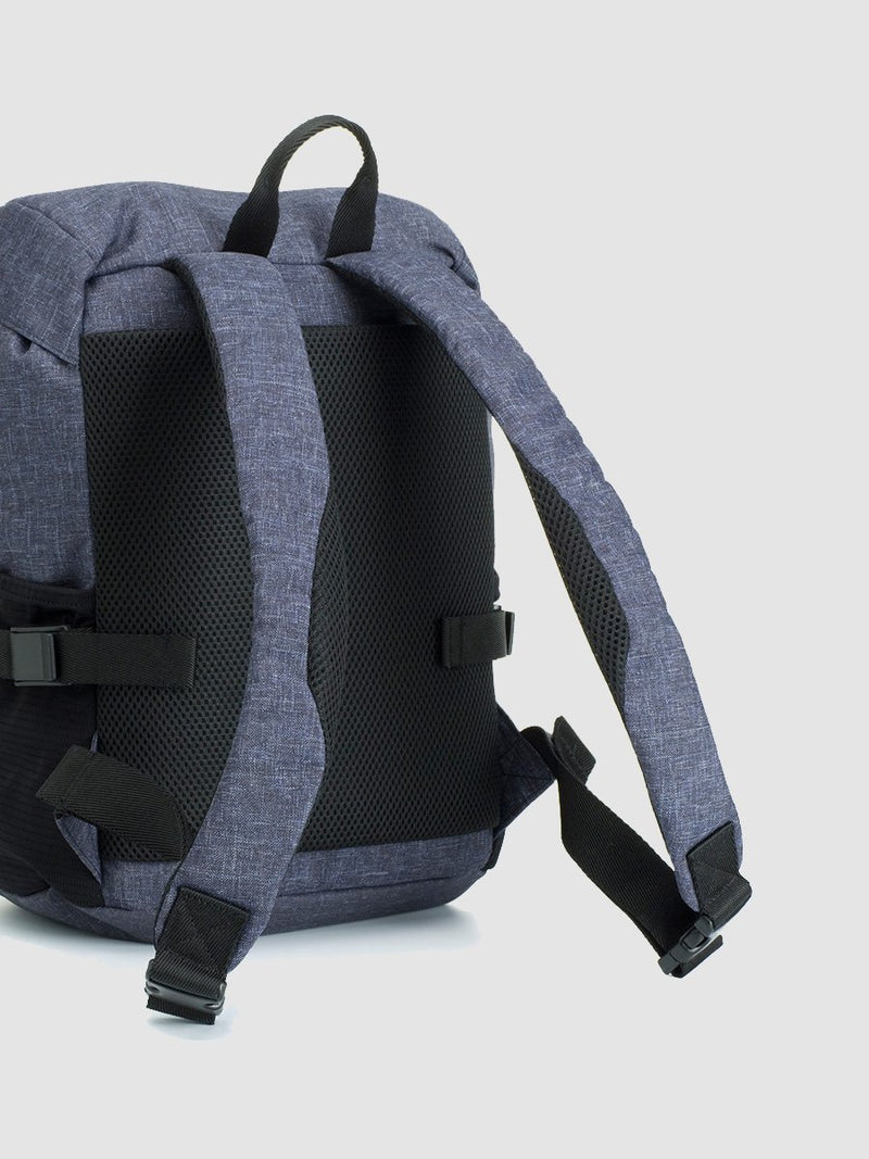 storksak travel eco backpack navy, rucksack changing bag, back panel panel and straps