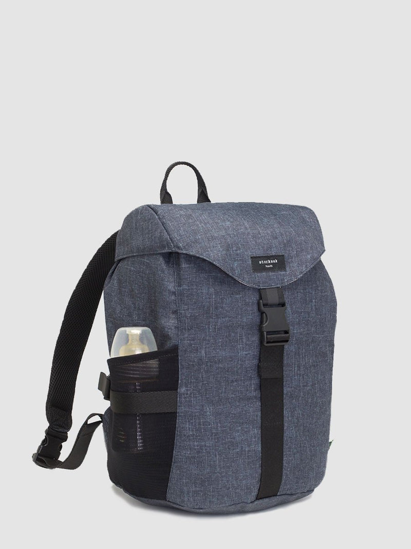 storksak travel eco backpack navy, rucksack changing bag, front view