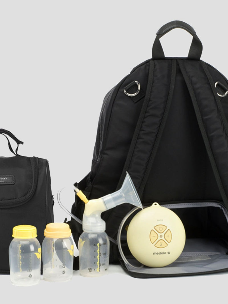 Storksak Hero Black backpack changing bag, back view showing how to use as breast pump bag