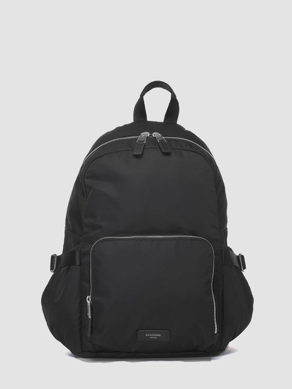 Storksak Hero Black backpack changing bag, with leather details, front view