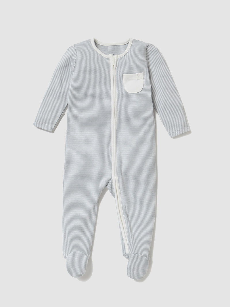 Mori Sleepsuit Blue Stripe