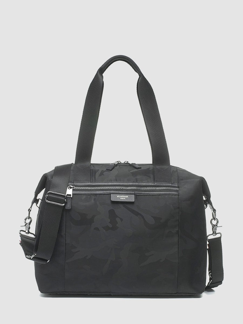 storksak stevie luxe camo black, changing bag, front view