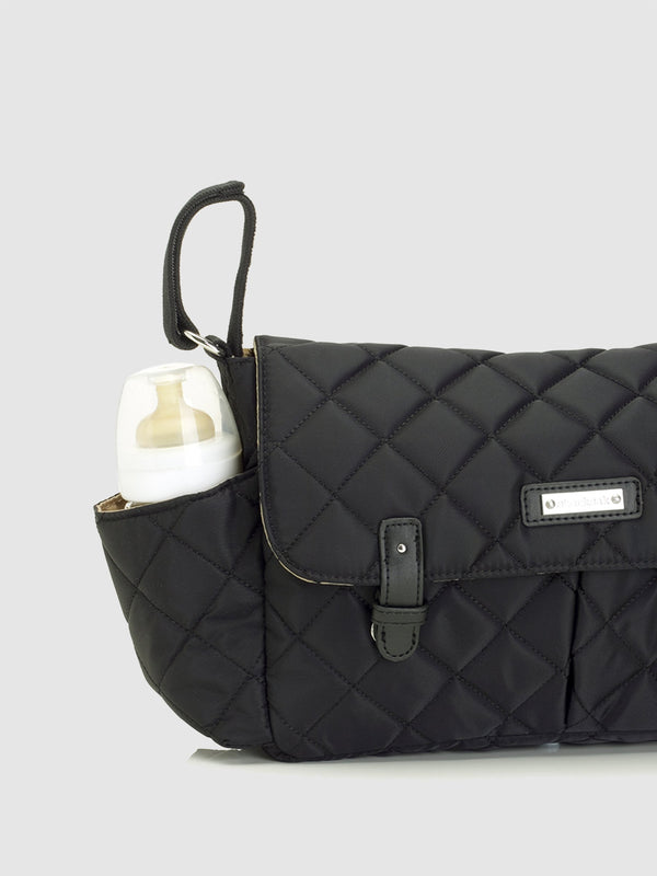 Storksak stroller organiser quilt black, side bottle pocket, buggy organiser