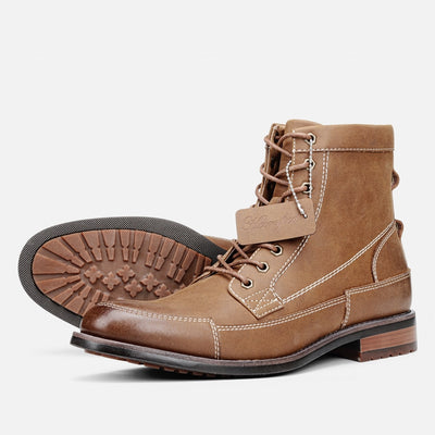 Staple Sole Mens Leather Patchwork Boot