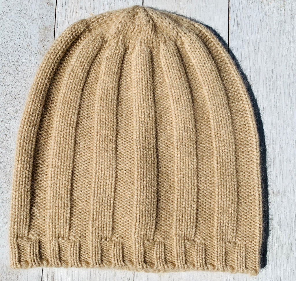 Hudson Thick Rib Beanie, 100% Pure Cashmere, Biscuit