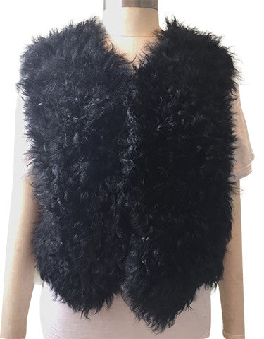 Counting Sheep Knitted Mongolian Wool Jett Black Gilet/ Vest