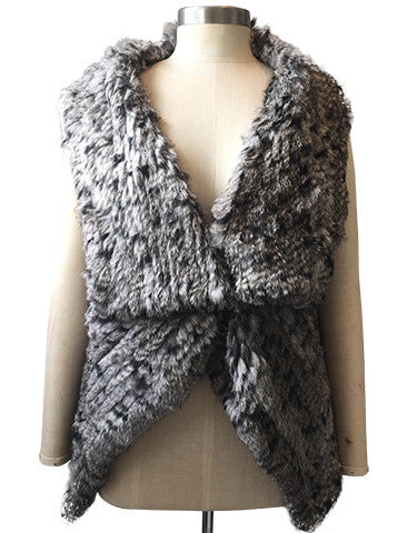 Three Way Rabbit Fur Knit Angle Lapel Gilet/ Vest - Dark Grey