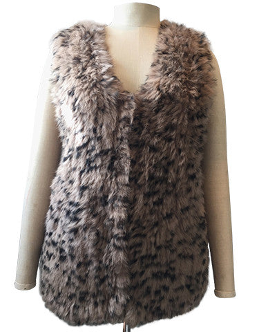 Vest Dressed Longline Mocha Spot Colour Rabbit Fur Knit Gilet/ Vest