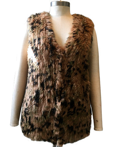 Vest Dressed Longline Camoflague Rabbit Fur Knit Gilet/ Vest