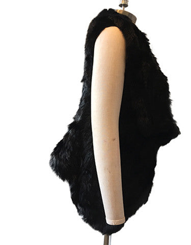 Three Way Rabbit Fur Knit Angle Lapel Gilet/ Vest - Jett Black