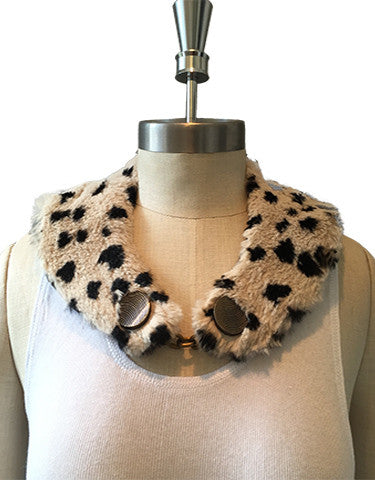 Softly, softly Animal Print Rabbit Fur Collar with Silk Lining - Off White