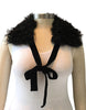 Baa None Pure Mongolian Wool Hide Collar with Velvet Tie, Black