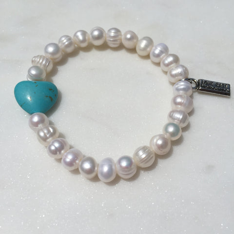 Fresh Water Pearl and Blue Heart Stretch Bracelet