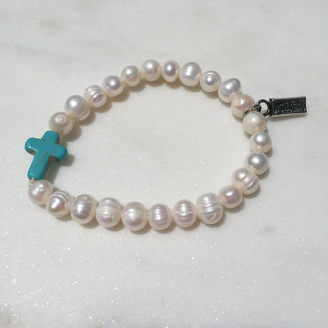 Fresh Water Pearl and Blue Cross Stretch Bracelet
