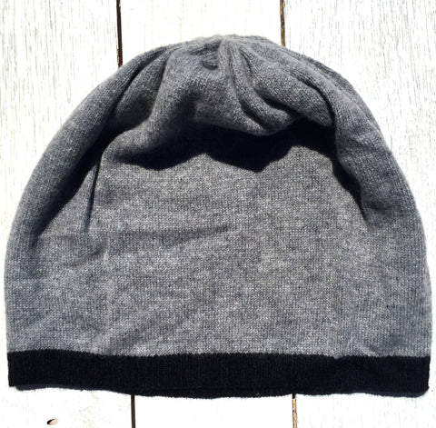Bentley Skull Cap Beanie, 100% Pure Cashmere, Marle Grey/ Jett Black