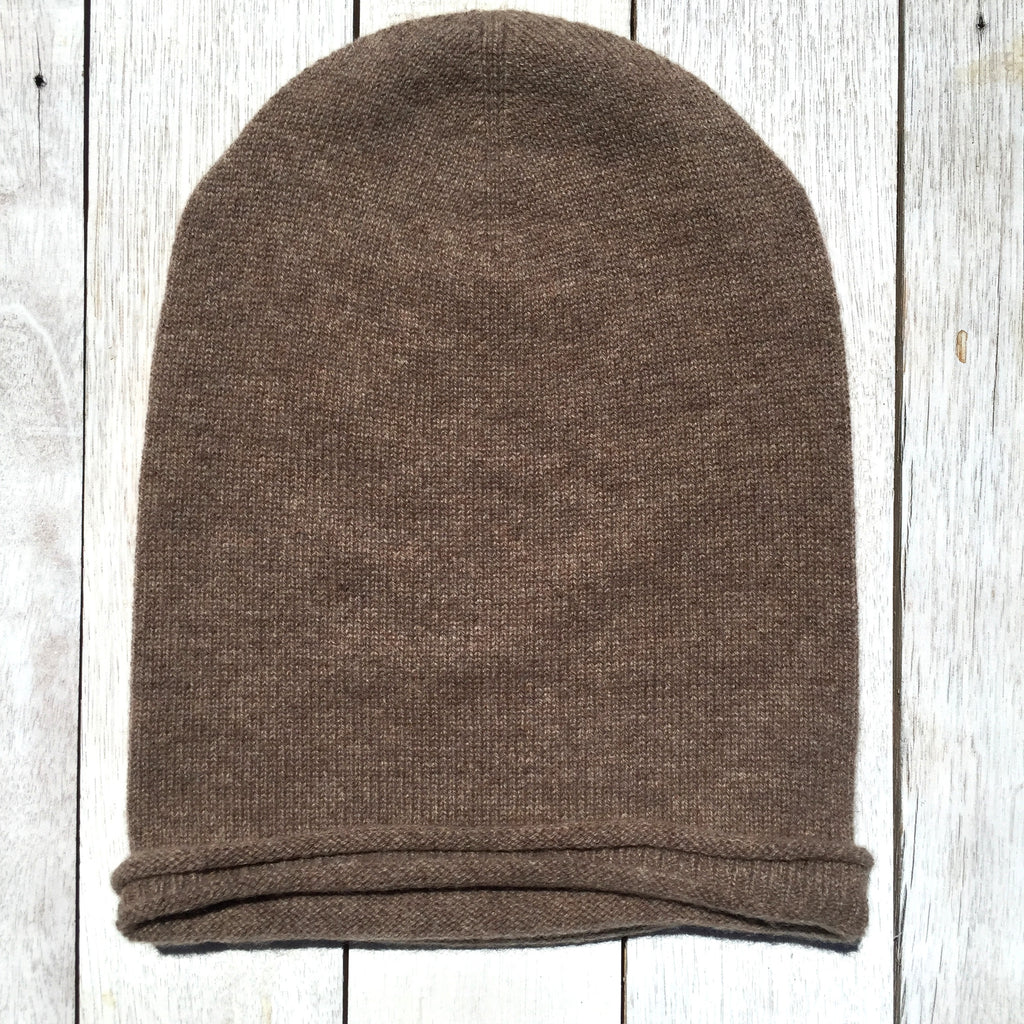 Brooklyn Roll Beanie, 100% Pure Cashmere, Donkey Brown