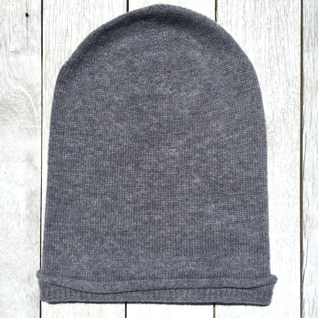 Brooklyn Roll Beanie, 100% Pure Cashmere, Marle Grey