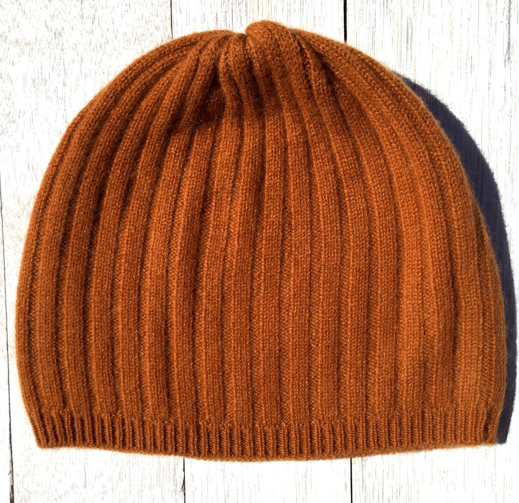 Broome Rib Beanie, 100% Pure Cashmere, Terracotta.  SOLD OUT.  SORRY!