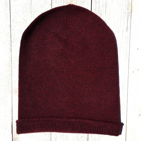 Brooklyn Roll Beanie, 100% Pure Cashmere, Wild Cherry