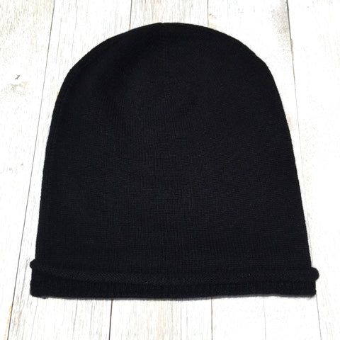 Brooklyn Roll Beanie, 100% Pure Cashmere, Jett Black