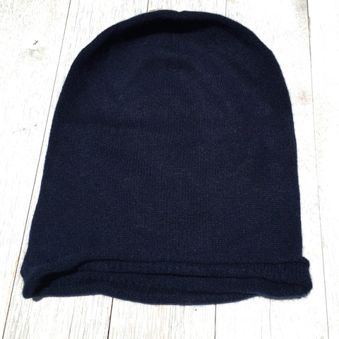 Brooklyn Roll Beanie, 100% Pure Cashmere, French Navy