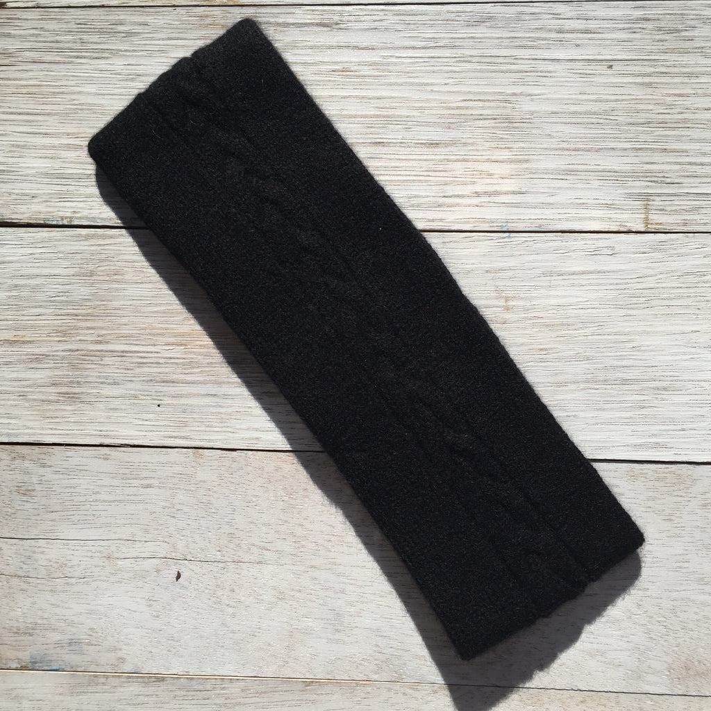 Happy to face ANYTHING Pure Cashmere Cable Headband - Jett Black