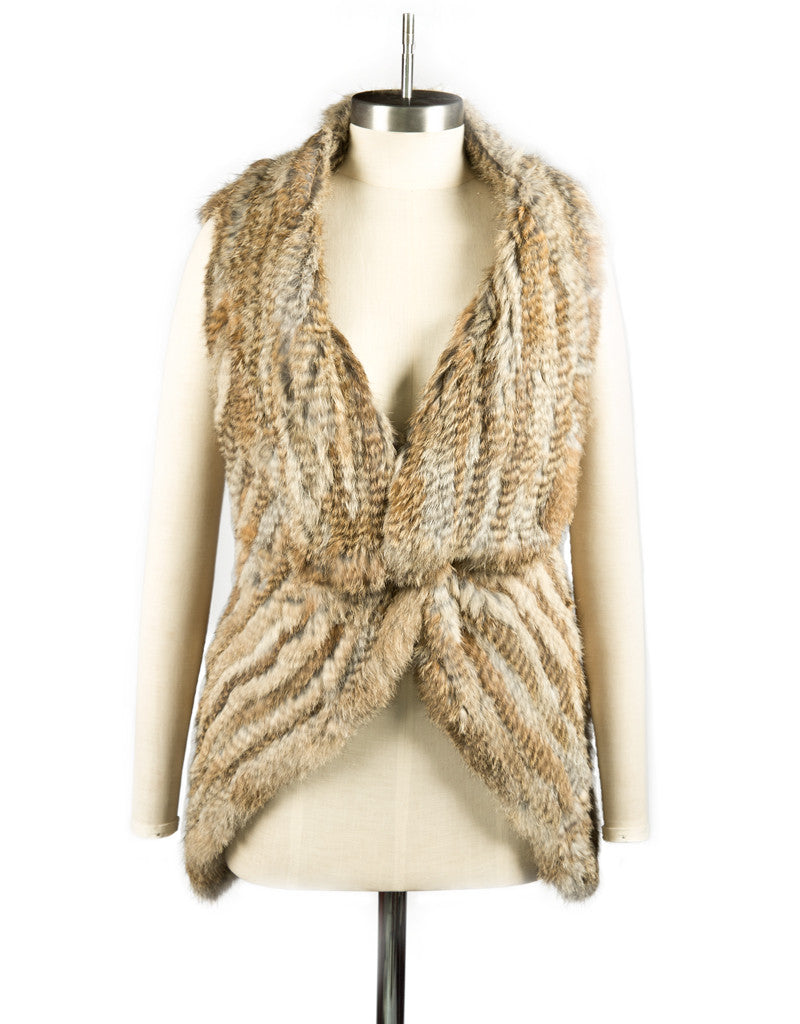 Three Way Rabbit Fur Knit Angle Lapel Gilet/ Vest - Natural Browns
