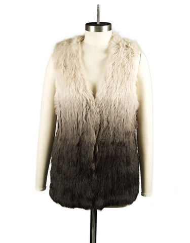 Vest Dressed Longline Brown Ombre Trio Tonal Colour Rabbit Fur Knit Gilet/ Vest