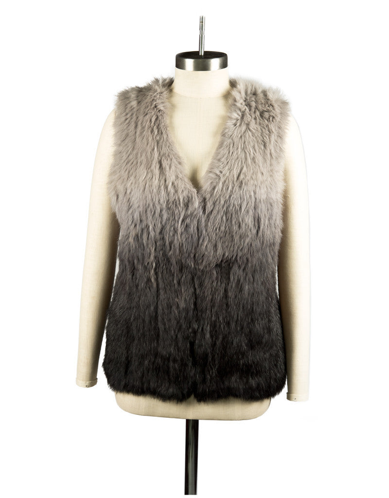 Vest Dressed Longline Grey Ombre Trio Tonal Colour Rabbit Fur Knit Gilet/ Vest