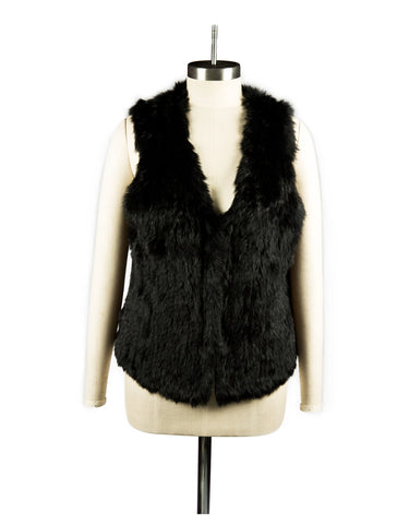 Vest Dressed Longline Jett Black Rabbit Knit Gilet/ Vest