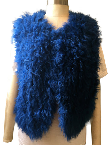 Counting Sheep Knitted Mongolian Wool Electric Blue Gilet/ Vest