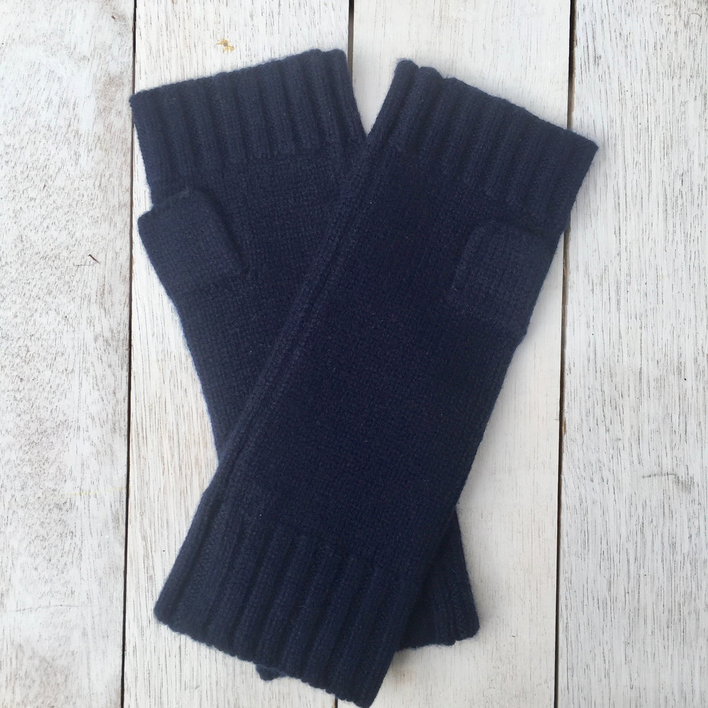 Gotta Hand it to YOU Pure Cashmere Fingerless Glove - French Navy