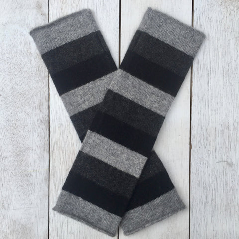 Hand on HEART Pure Cashmere Fingerless Glove - Striped Pressed Metal Grey