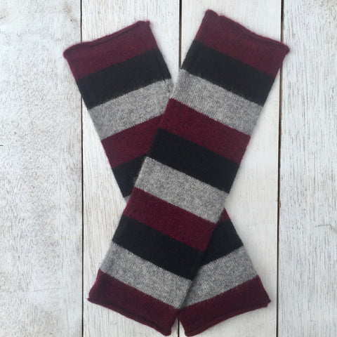 Hand on HEART Pure Cashmere Fingerless Glove - Striped Wild Berry