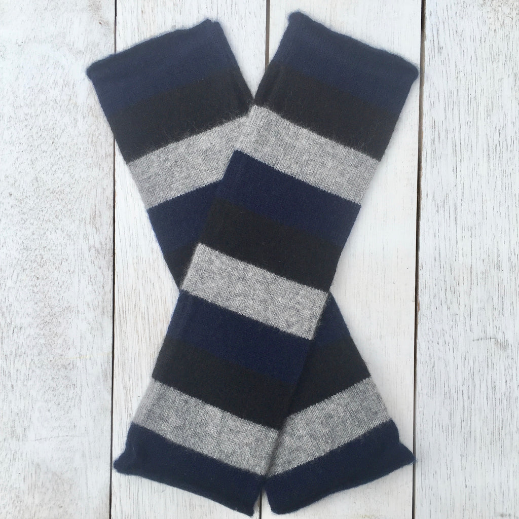 Hand on HEART Pure Cashmere Fingerless Glove - Striped French Navy