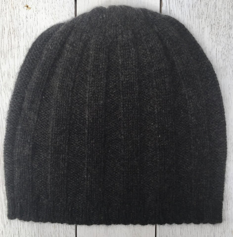 Hudson Thick Rib Beanie, 100% Pure Cashmere, Pressed Metal Grey