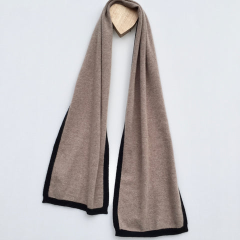 I'm WRAPPED Cashmere Border Scarf - Donkey Brown