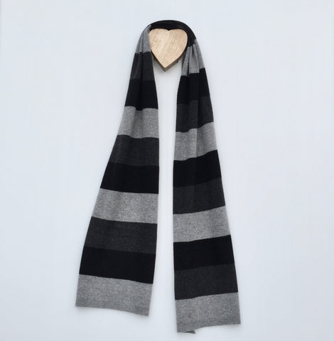 Earnt YOUR Stripes Cashmere Twist Scarf - Pressed Metal Grey
