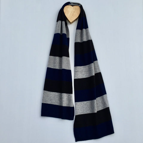 Earnt YOUR Stripes Cashmere Twist Scarf - French Navy