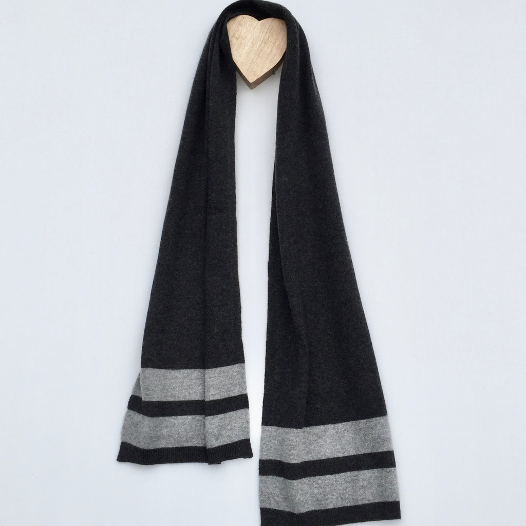 CROSS the line Cashmere Stripe Scarf - Pressed Metal Grey