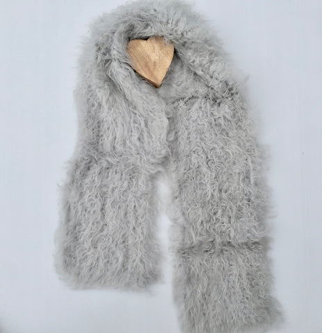 Follow MY Lead, Pure Mongolian Wool Knit Scarf - Dove Grey
