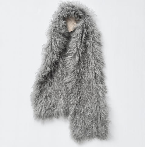 Follow MY Lead, Pure Mongolian Wool Knit Scarf - Charcoal