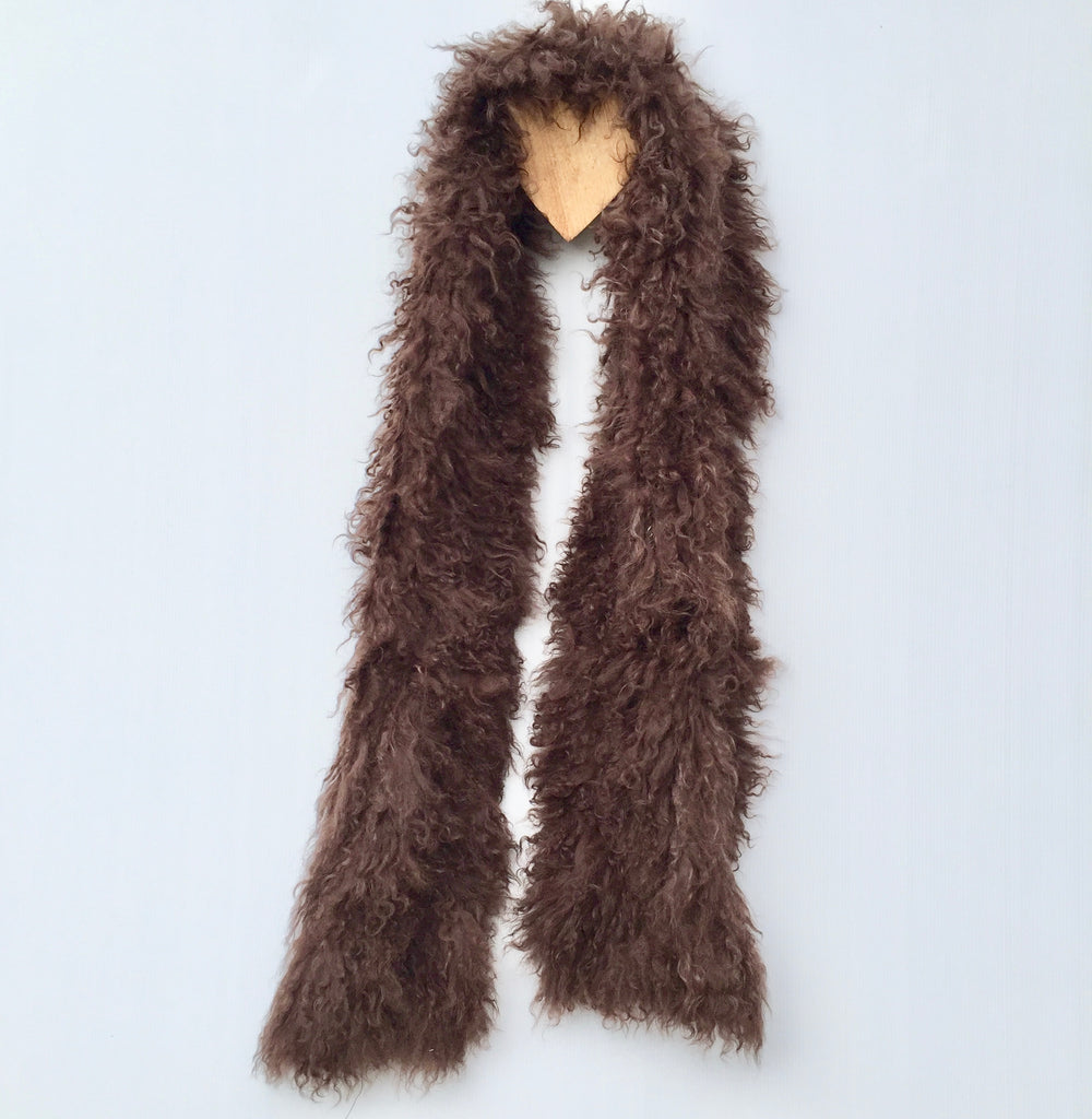 Follow MY Lead, Pure Mongolian Wool Knit Scarf - Chocolate