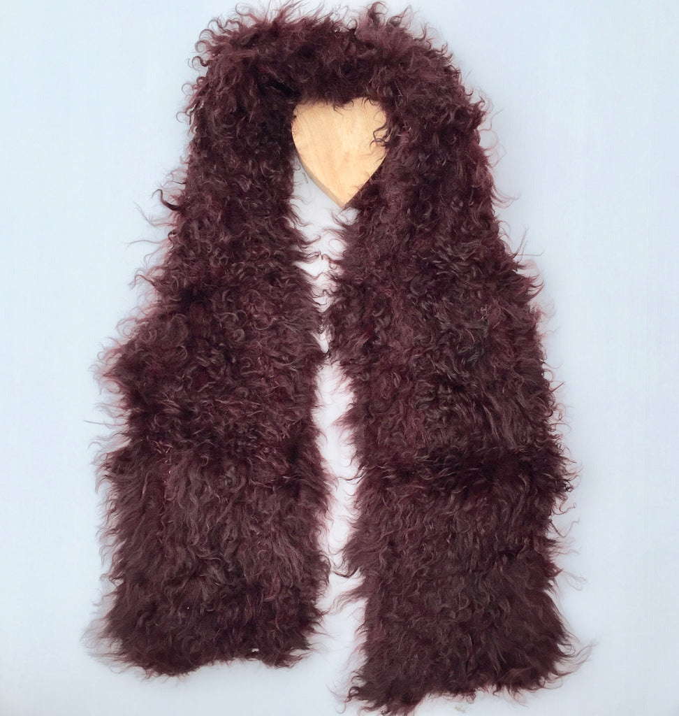 Follow MY Lead, Pure Mongolian Wool Knit Scarf - Claret