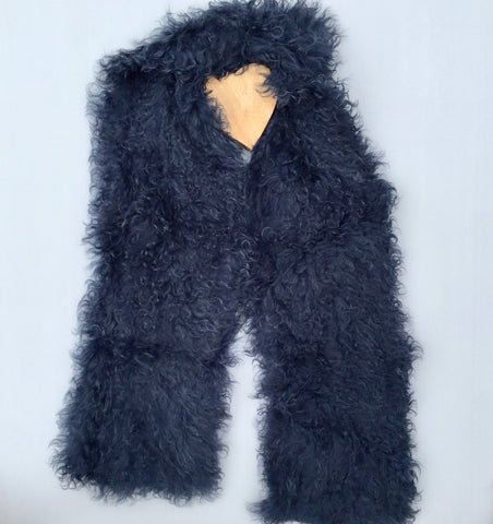 Follow MY Lead, Pure Mongolian Wool Knit Scarf - French Navy