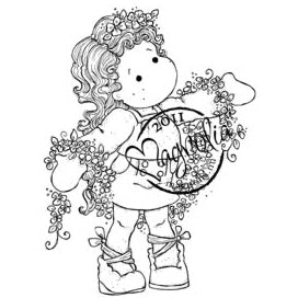 Magnolia Rubber Stamps- EZ Mounted Stamp- Tilda with winding flowers (SM12)
