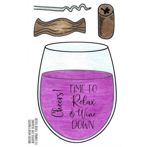 Inky Antics Rubber Stamps Clear Sets - Relax & Wine Down (11492MC)