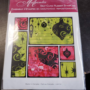 Magenta Self-Cling Rubber Stamp Set - Christmas Silhouette (CSET34)