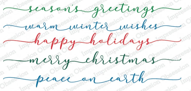 Impression Obsession Rubber Stamps - Slim Scenes - Winter Greetings (3237-LG)
