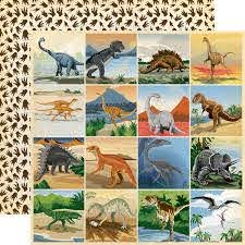 "Carta Bella Paper Co. Dinosaurs Collection 12"" x 12"" Paper - 3X3 Journaling Cards (CBDI110002)"
